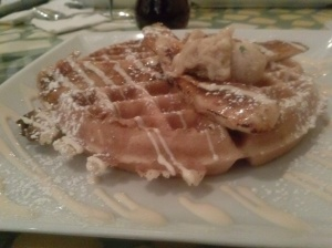 The next morning at Batter and Berries. After the longest wait ever...the most delish waffles ever.